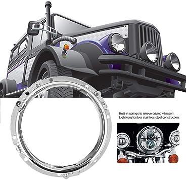 argento staffa di montaggio per faro moto nero e argento in lega di alluminio Staffa ad anello rotonda per faro da 7 pollici