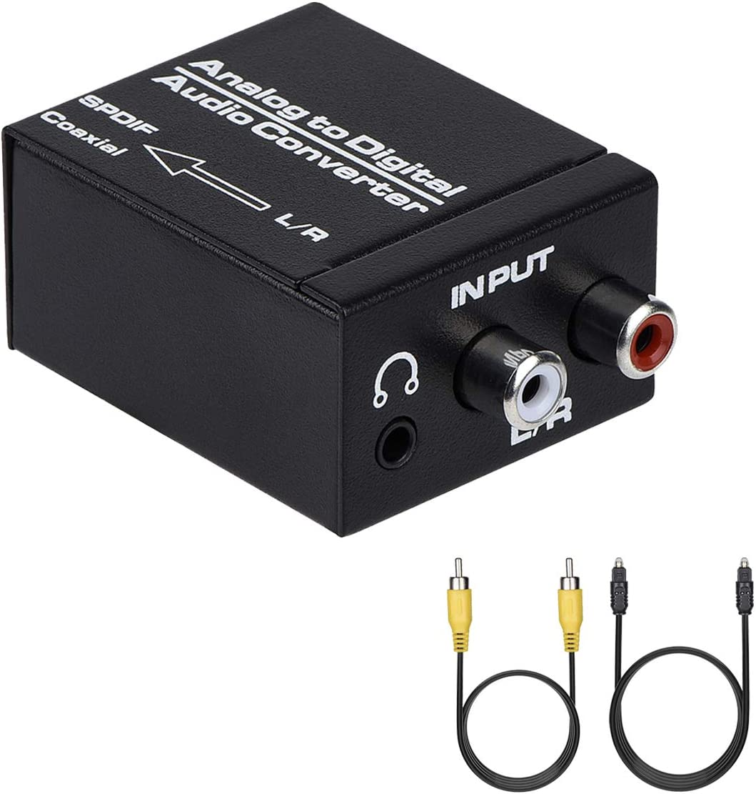 Fosmon HD1893 Digital Optical Coax to Analog RCA Audio Converter with Power Supply Adapter