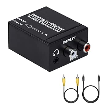 Convertidor de audio analógico a digital, R/L RCA 3,5 mm AUX a Digital coaxial Toslink adaptador de audio óptico con cable óptico, cable coaxial: Amazon.es: Industria, empresas y ciencia
