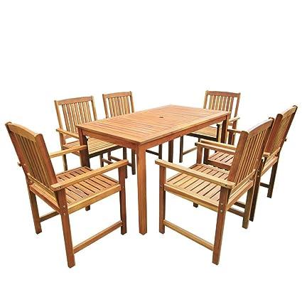 Festnight Salon de Jardin 1 Table et 6 Chaises d\'extérieur en Acacia ...