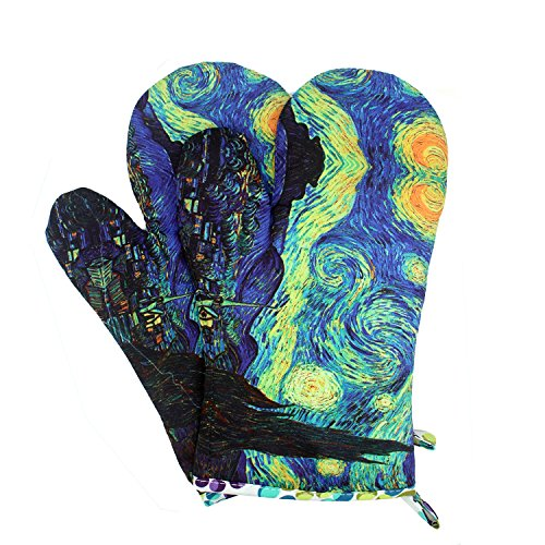 MAGICAL DESIGN Funny Oven Mitts, with The Heat Resistance and Flexibility of Cotton, Recycled Cotton Infill, Terrycloth Lining, 480 F Heat Resistant Pair ...