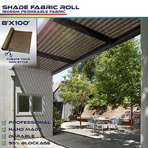Windscreen4less Brown Sunblock Shade Cloth,95% UV Block Shade Fabric Roll 8ft x 100ft