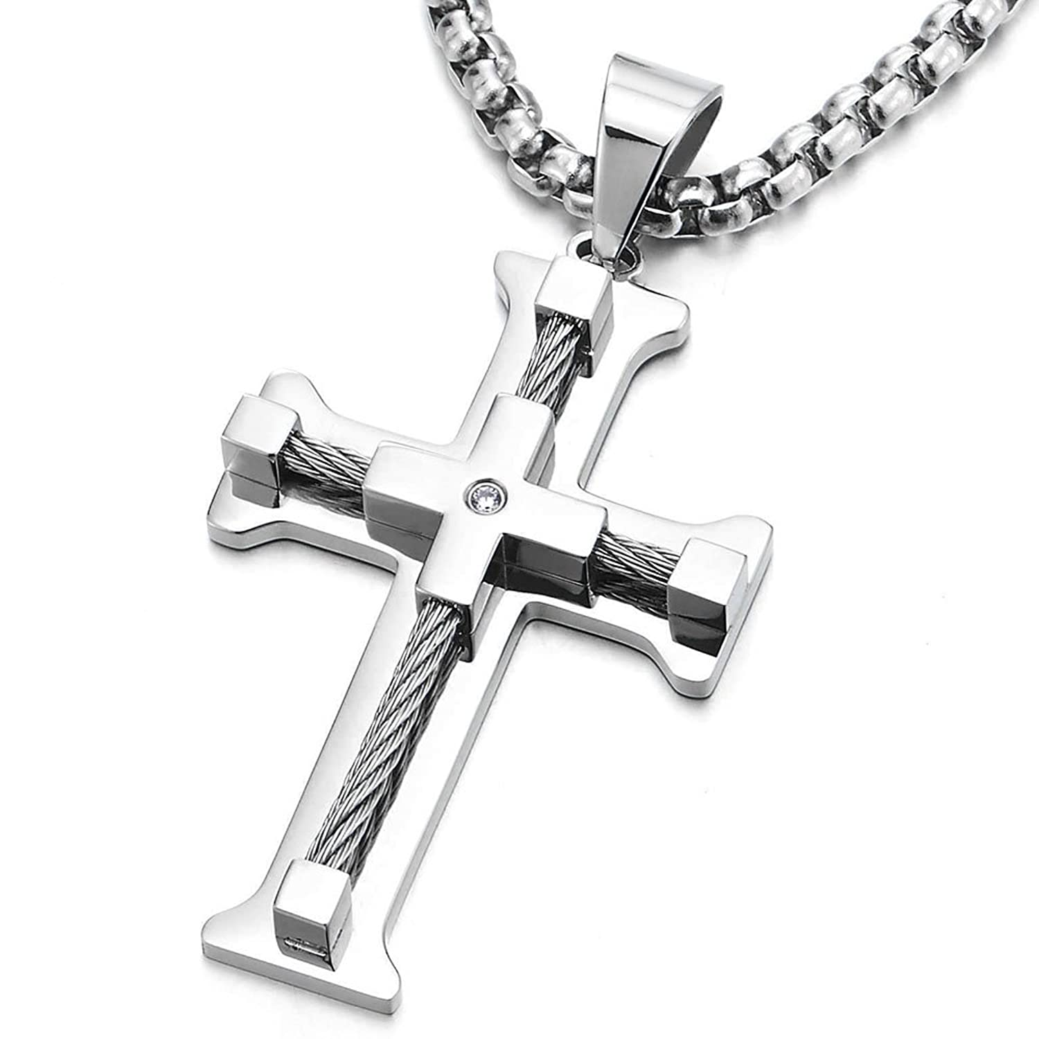 Mens Large Cross Pendant Necklace Stainless Steel with Twisted Cable and CZ, 30 Inches Wheat Chain
