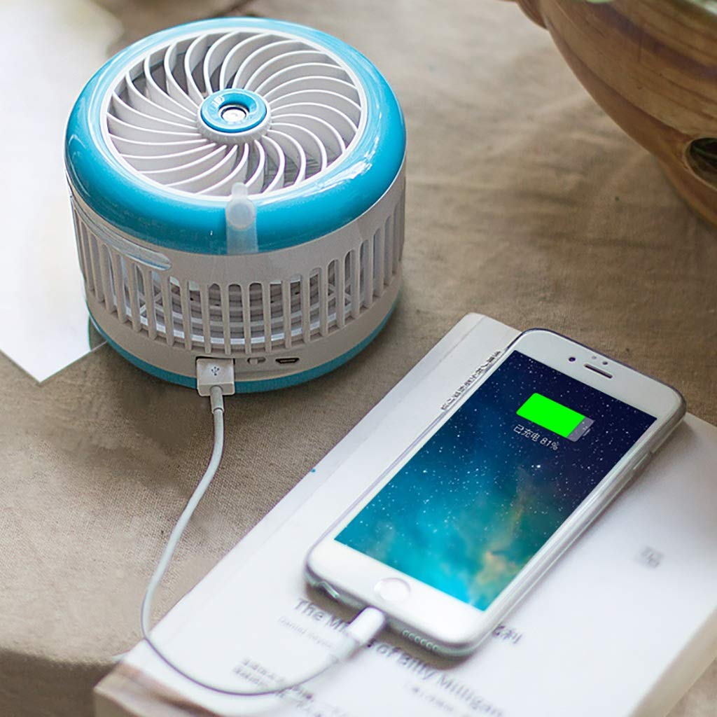 LYJD Ventilador eléctrico, humidificador por aspersión, Mini USB Recargable, pequeña humidificación portátil de la Belleza del acondicionador de Aire (Color ...