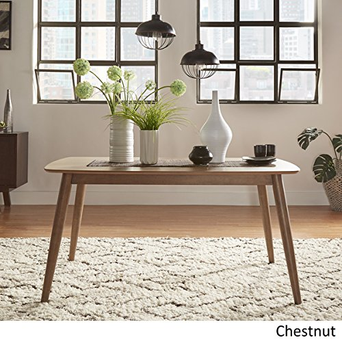 Price Discounts, MID-CENTURY LIVING Norwegian Mid Century Danish Modern Tapered Dining Table, 63- Inch Chestnut Finish