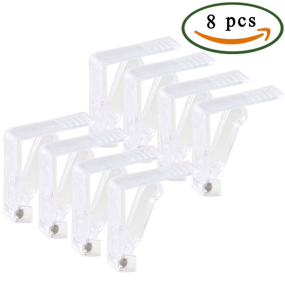 Anpatio 8pcs Tablecloth Clips Plastic Table Cloth Holders Clear Picnic Table Cover Clamps for Inside Outdoor Patio Park Garden Graduation Birthday Wedding Party Campground Dining