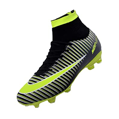 42f57b144 Sunny Holiday Football Boots Kids High Top Soccer Shoes Girls Unisex  Professional Spike Teenagers Training Shoes Outdoor Sneakers Boots Boys   Amazon.co.uk  ...