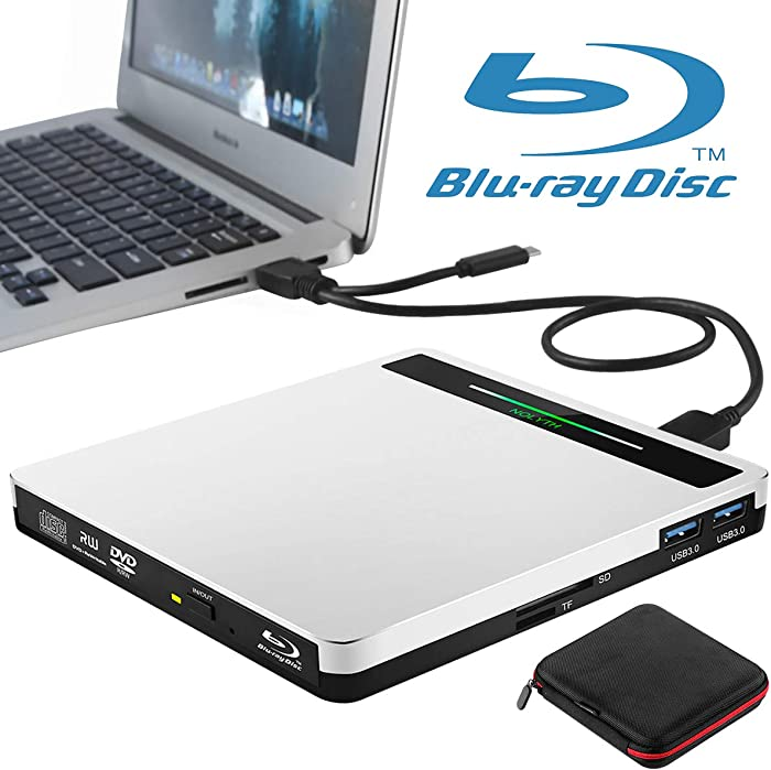 External Bluray Drive NOLYTH USB 3.0 Type-C 5 in 1 Blueray Burner BD Player for Laptop Mac MacBook Pro Air Desktop Windows 10 PC