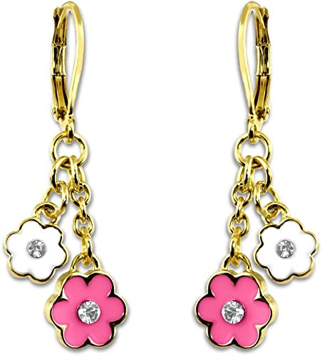 Hand Painted Flower Earrings For Women Gold Plated Dangle Earrings - Two Colorful Flowers With A Center Crystal On Dangle Gold Chain Enamel Earrings For Teens Quality Fashion Jewelry Earrings For Mom