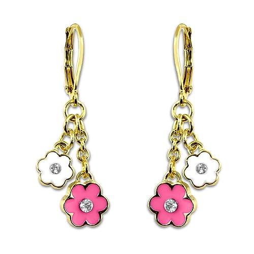 Flower Earrings For Girls | Little Girl Earrings & Toddler Earrings | Girls Earrings Hypoallergenic Color Enamel & Crystal Flower Dangle Earrings For Kids | Childrens Earrings For Little Girls