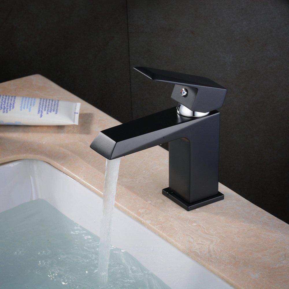 beelee bl6317b ba/ño lavabo grifo sola manija grifo un agujero con dise/ño rectangular pintura negro