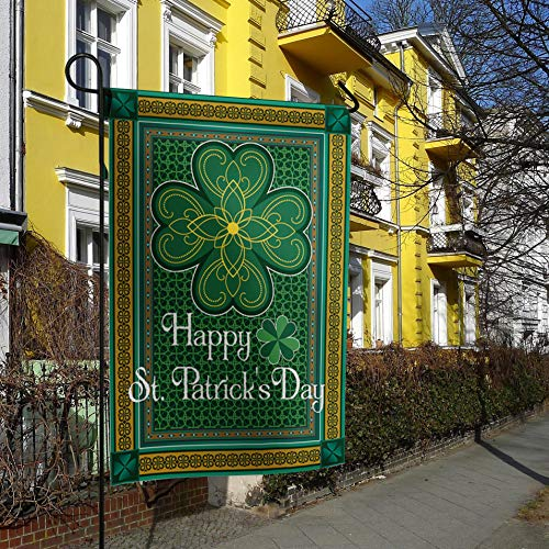 Garden Flags House Banner Decorative Flags Home Outdoor, St. Patrick's Day Theme Retro Celtic Knots Lucky Clover Design Pattern Irish Decor Print, Welcome Holiday Yard Flags, Double Sides 28 x 40inch