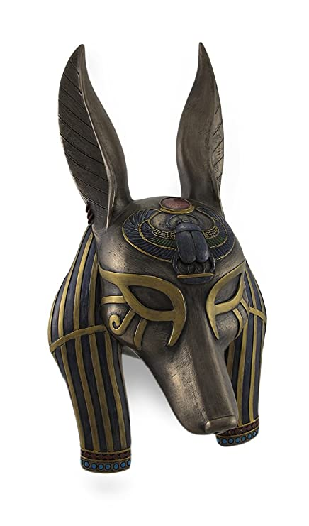 Veronese Resin Wall Sculptures Mask Of Anubis The Jackal God Sculptured Wall Hanging 11 X 3.75