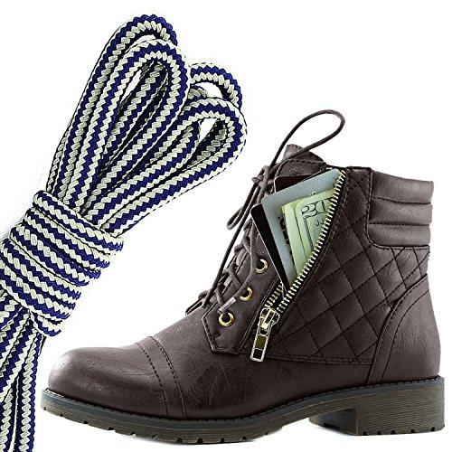 Botas De Combate De Bufanda Con Cordones Militares Para Mujer DailyZapatos Bolsillo De Tarjeta De Crédito Exclusivo De Tobillo Con Alzas, Azul Marino Blanco Marrón Pu