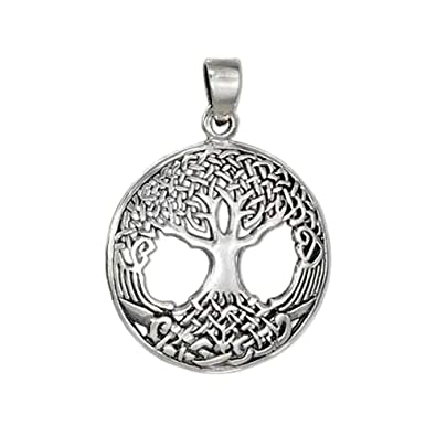 c4afe65d1653c Image Unavailable. Image not available for. Color  Sterling Silver Ornate Celtic  Tree of Life Pendant