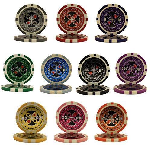 ULTIMATE 14gm Clay Poker Chip Sample Set - 10 New Chips (Sample Poker Chips)