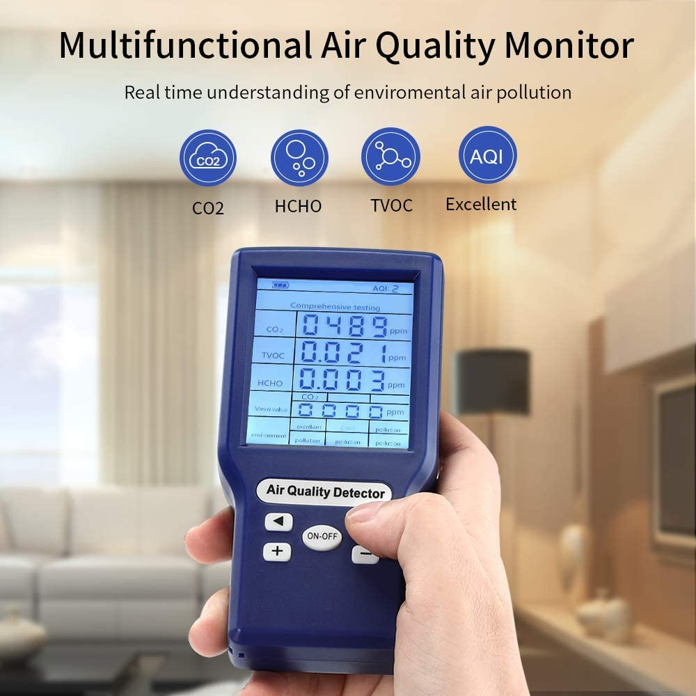 Amdohai Carbon Dioxide Meter Temperature//Humidity Air Quality Monitor Digital CO2 Detector Air Analyzer for CO2//TVOC Accurate Tester Kit for Home Office Real Time Data