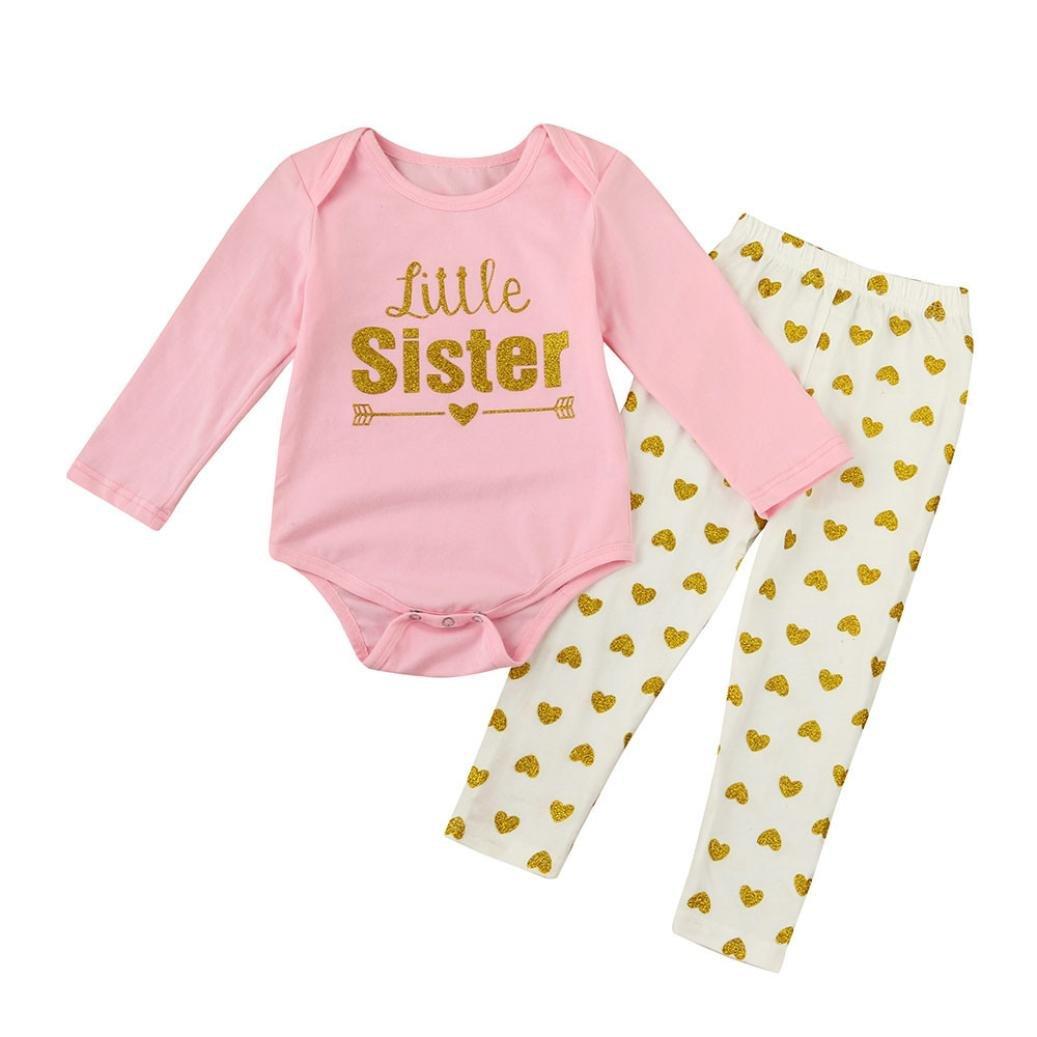 Newborn Baby Girls Clothes Outfits Set Little Sister Letters Romper Jumpsuit+Heart Long Pants Cute Fashion