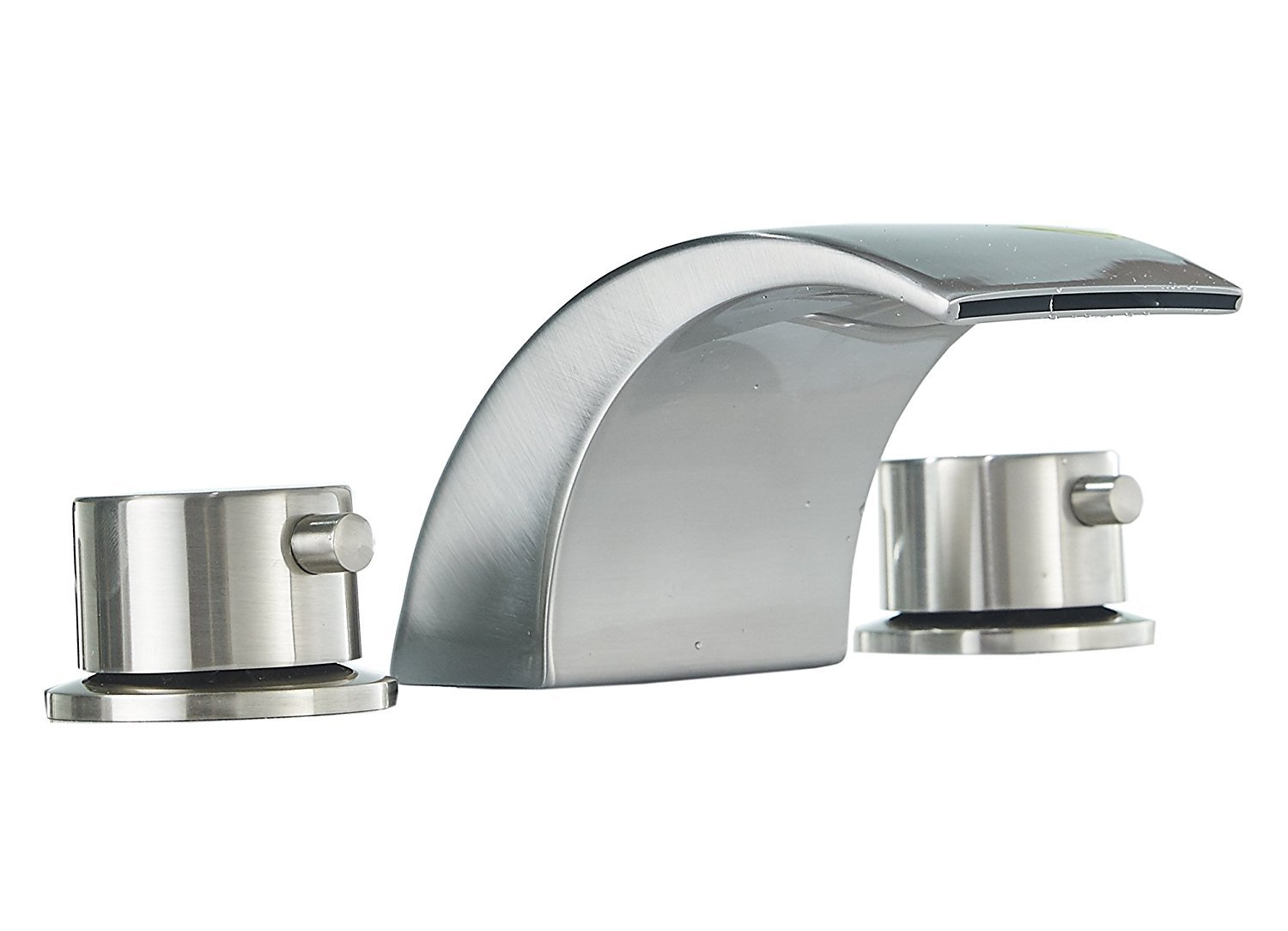 Homevacious Widespread Bathroom Sink Faucet Led Light Waterfall Bath Tub Brushed Nickel 8-16 inch Two Handles Three Holes Bath Waterfall Lavatory Faucet Deck Mount Mixer Tap Contemporary No Battery by Homevacious