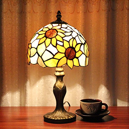 ETERN 8-Inch Pastoral Stained Glass Sunflower Table Lamp Bedroom Lamp Bedside Lamp