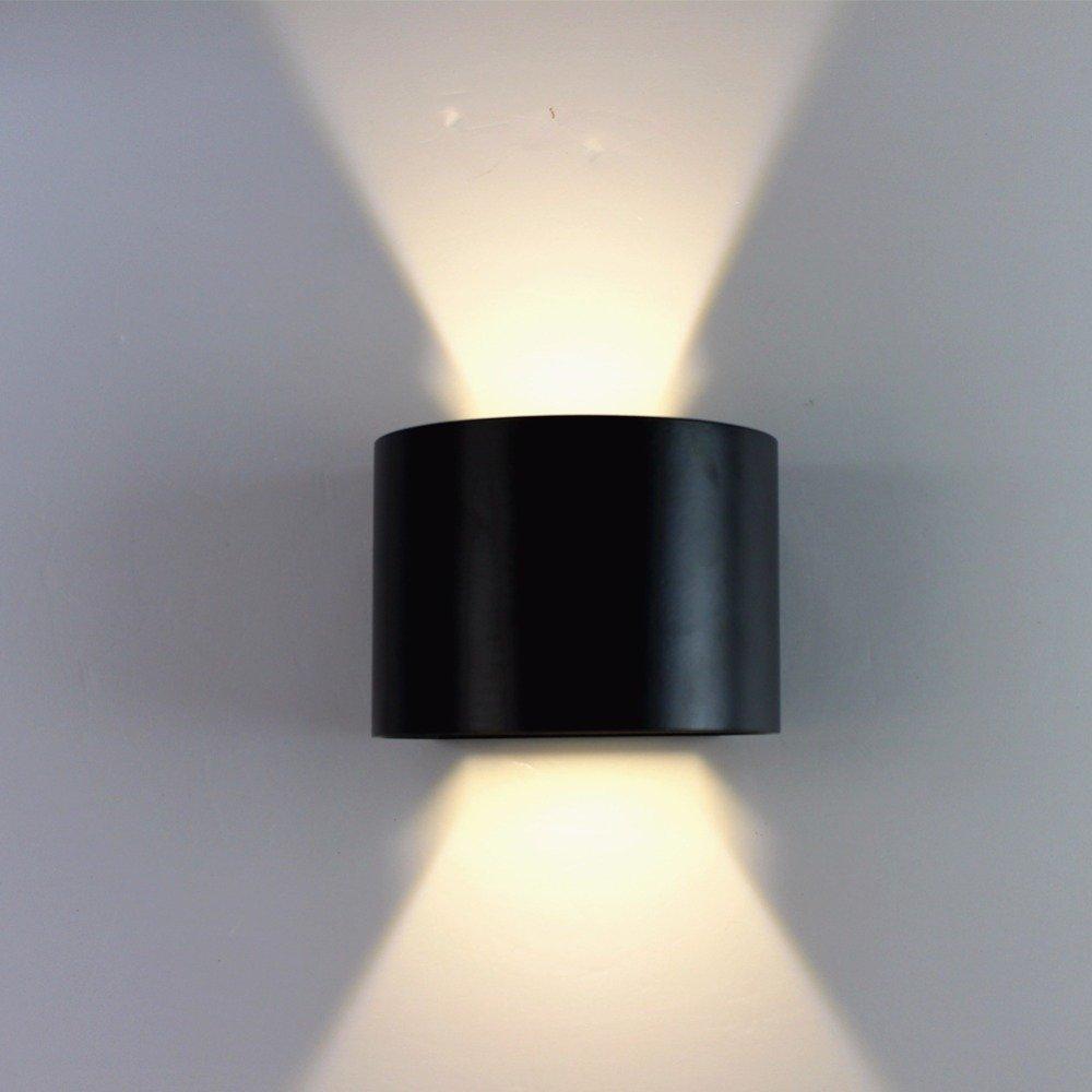 LWYJRBD Applique Lampada da Parete Design Impermeabile Lampada da Parete per Esterni 6w 90260v Nero rossoondo in Alluminio 140x100x100mm Applique da Parete Regolabile, 6W Bianco Freddo (5500-7000K)