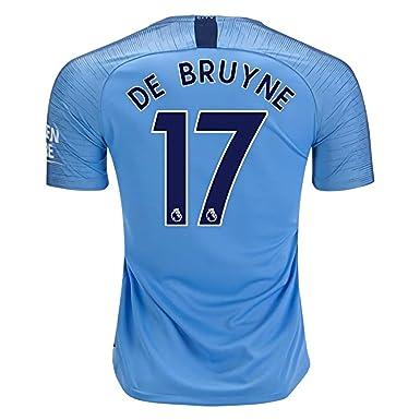 size 40 6b32e 55b44 Marjorong Manchester City Stadium 2018/2019 17 DE Bruyne Home Jersey Mens  Blue