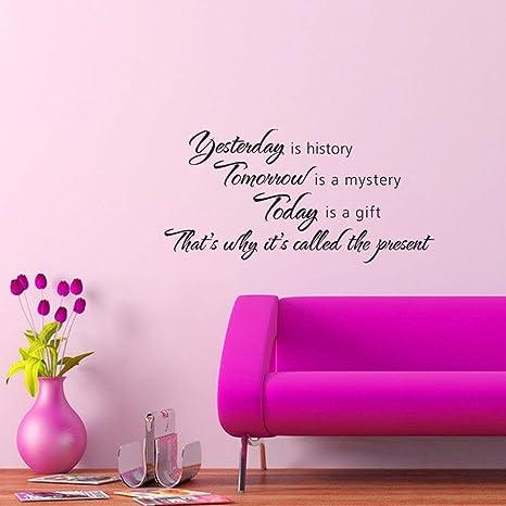 Soledi®Pegatinas Adhesivos vinilos decorativos pared frases Yesterday is  history Removible para salon comedor habitación decoración hogar