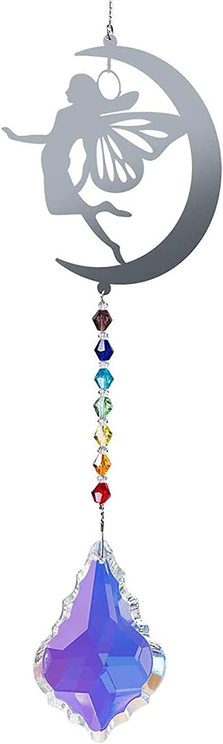 WEISIPU Hanging Crystals Suncatcher - Rainbow Maker with Iron Angel Wings Shape, Hanging Pendant Prism Window Ornament Decoration for Home, Office, Garden Decoration (Colorful Crystal)