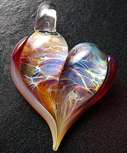 Amazon heart pendant glass heart jewelry lampwork necklace heart pendant glass heart jewelry lampwork necklace focal charm handmade by boomwire glass mozeypictures Images