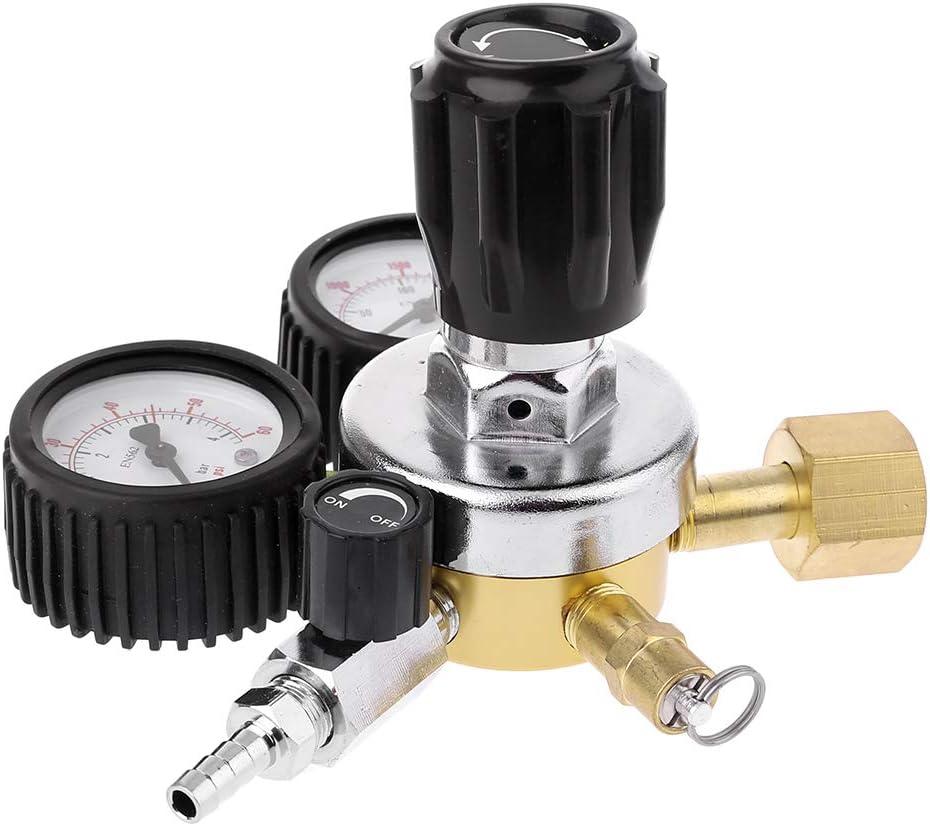 BIlinli Regulador de CO2 Barril Regulador de Cerveza con válvula de Alivio de presión para Gas 0-3000PSI (Medidor Doble) Reductor de dióxido de Carbono