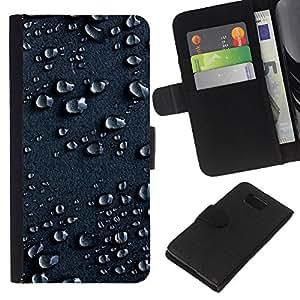 KLONGSHOP // Tirón de la caja Cartera de cuero con ranuras para tarjetas - Gotas de agua de lluvia Humedad Gotita Superficie Arte - Samsung ALPHA G850 //