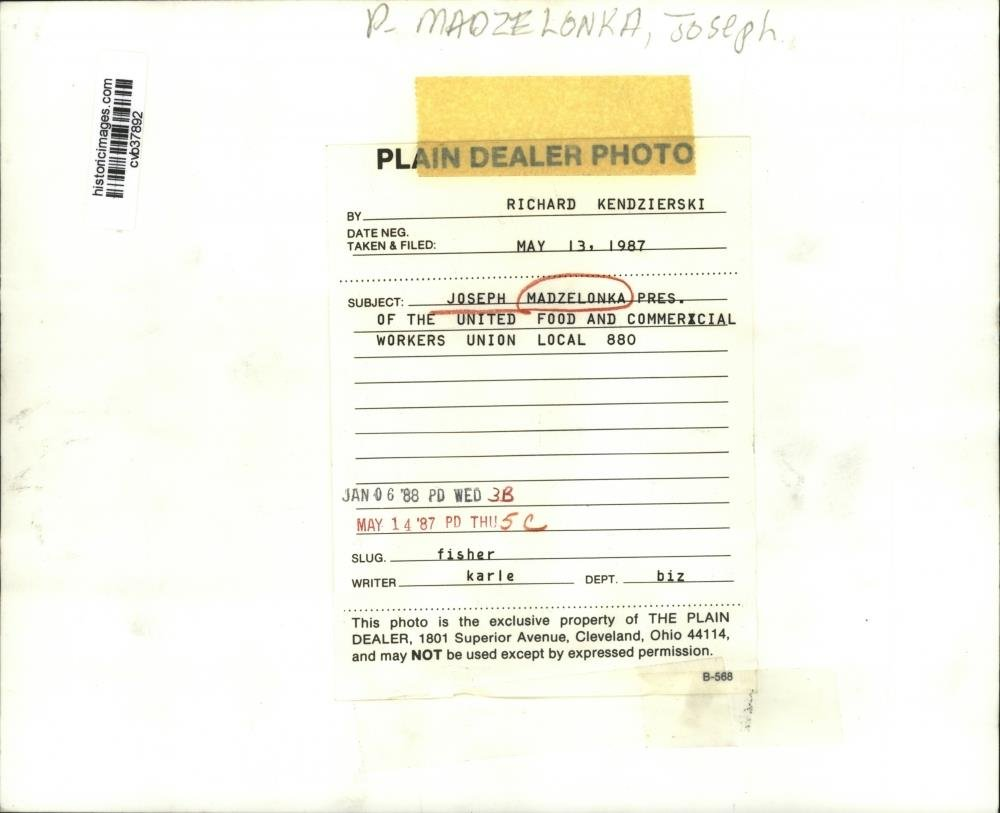 Amazon com: 1987 Press Photo Joseph Madzelonka UFCW