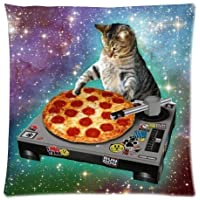 Hipster DJ Cat Pizza Cat Galaxy Pizza Cat WWJ295 Cotton & Polyester Soft Zippered Throw Case Pillow Case Cover