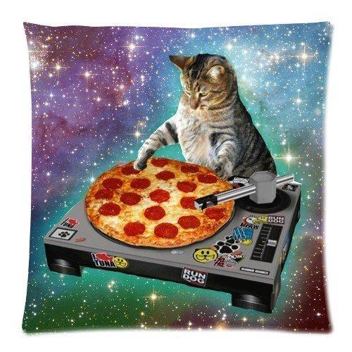 SIXSTARS Food Funny Creative Hipster DJ Cat Pizza Cat Galaxy Pizza Cat Design Zippered pillowcase One (Cat Pillow)