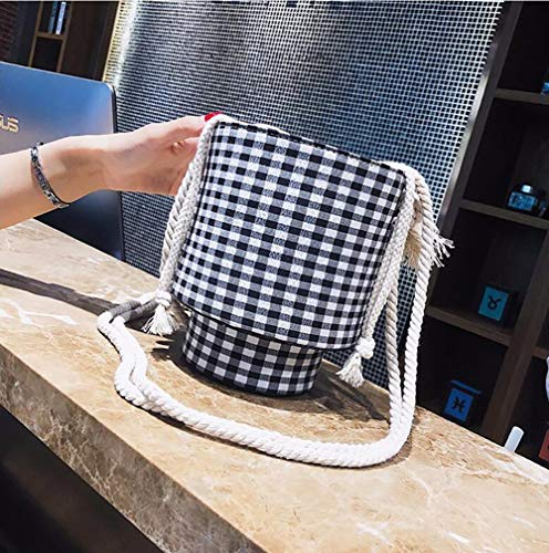 Shoulder Tote Bag Qiulv Bag Black Cylindrical Fabric Rope Crossbody Linen Women's Bag Cloth CSSw0qX