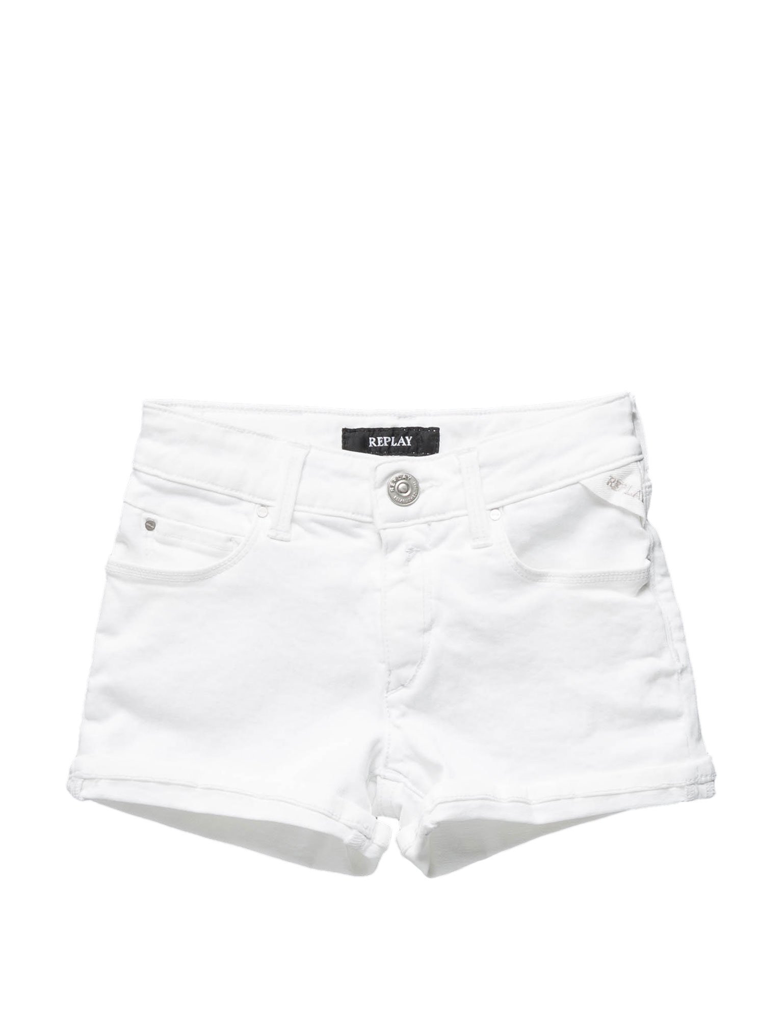 Replay 8 Oz Bull Power Stretch Girl's White Shorts In Size 6 Years White