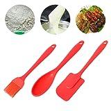 Junlinto 3PCS Silicone Spatula Spoon Brush Set