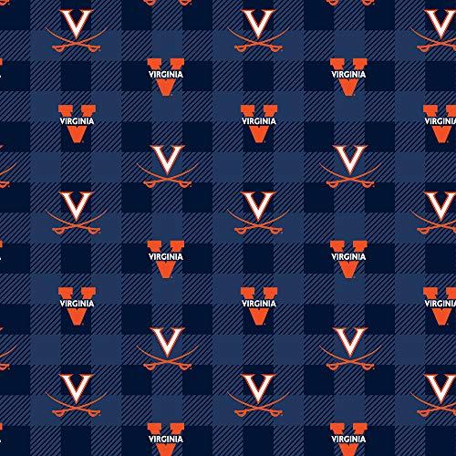 University of Virginia Fleece Blanket Fabric-Virginia Cavaliers Fleece Fabric with Buffalo Plaid Design