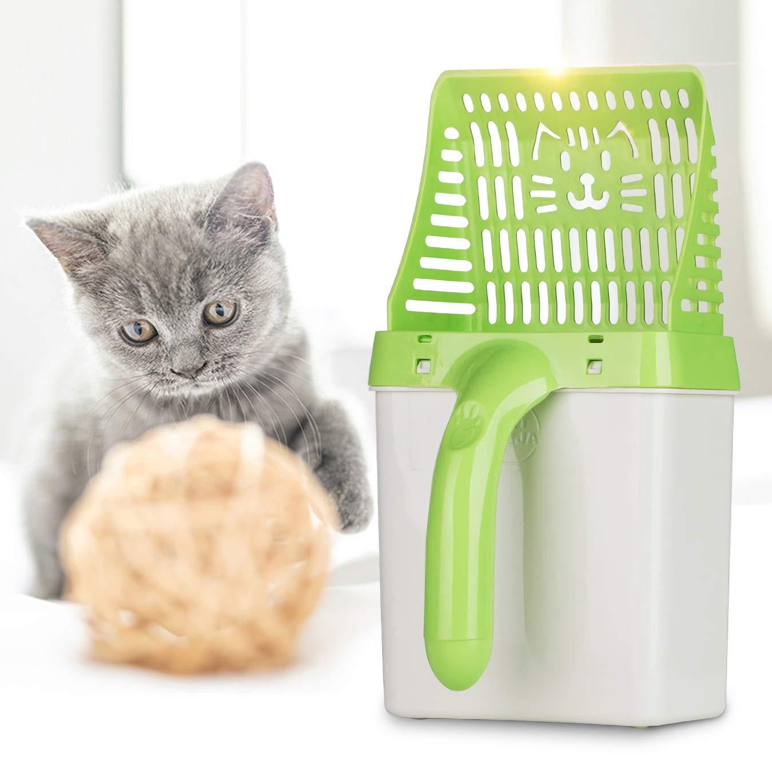 Qwhome Pala para Gatos, Herramienta de Limpieza para Mascotas Cuchara de plástico Productos de Limpieza de Arena para Gatos Inodoro para Comida para Perros ...
