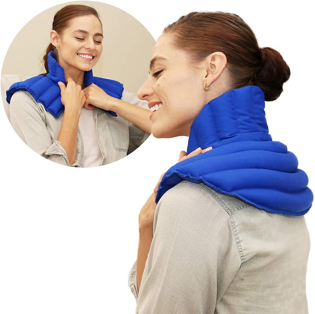 My Heating Pad for Neck and Shoulder Plus - Microwavable & Reusable Lavender Scented Wrap for Shoulder & Neck Pain, Stiff Muscles, Heachaches & Anxiety Relief (Blue Lavender Plus)
