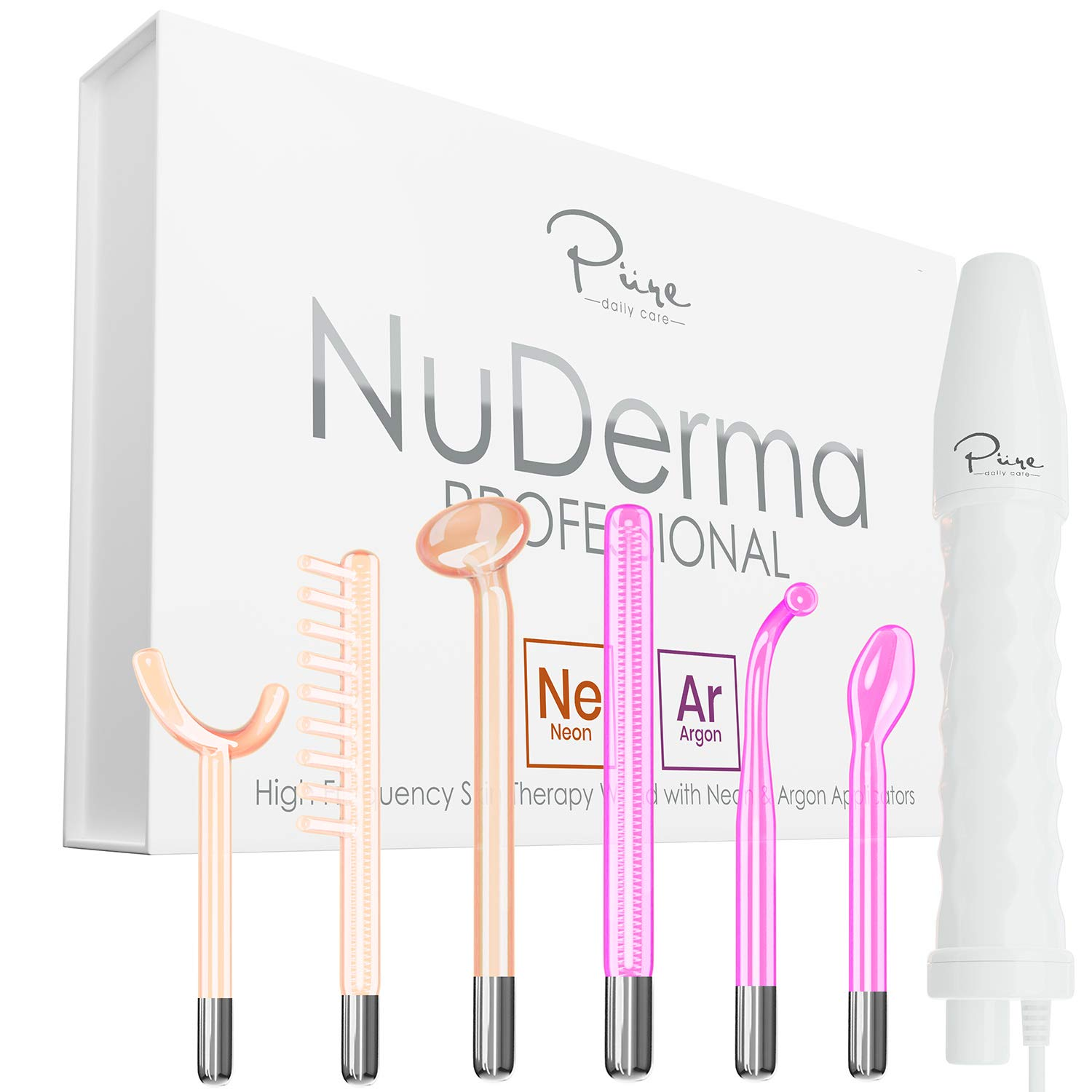 NuDerma Professional Skin Therapy Wand - Portable High Frequency Skin Therapy Machine with 6 Neon & Argon Wands - Blemish Control & Spot Treatment - Skin Tightening - Wrinkle Reducing – Anti Aging