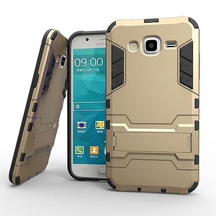 Ougger para Samsung Galaxy J5 J500 Funda Carcasa Case, Protector Extrema Absorci¨®n de Impacto [Kickstand] Piel Armor Cover Duro Pl¨¢Stico + Suave TPU ...
