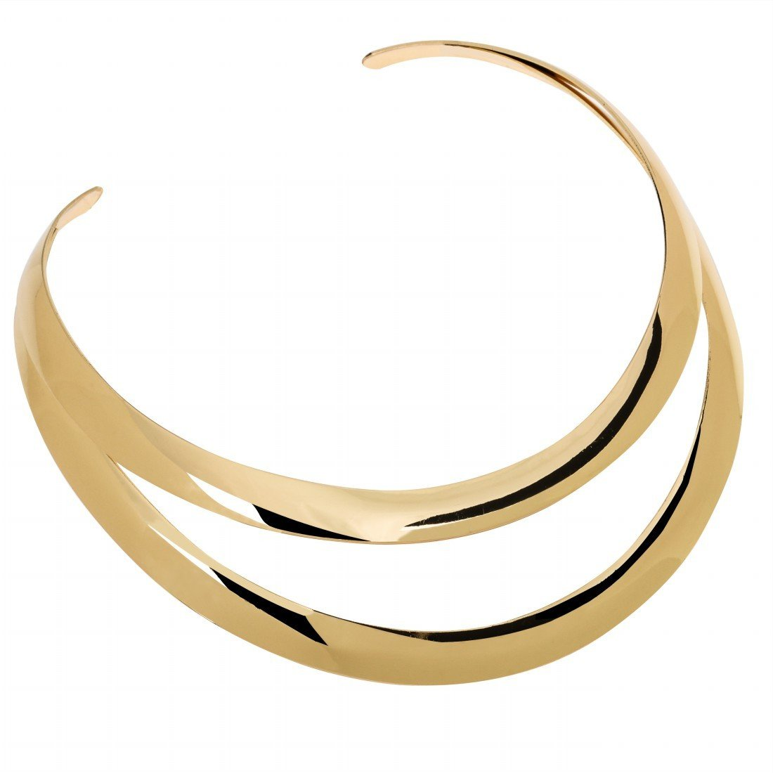 Women's Necklace Love Choker Stainless Steel Collar Double Bright Gold Toner Plated