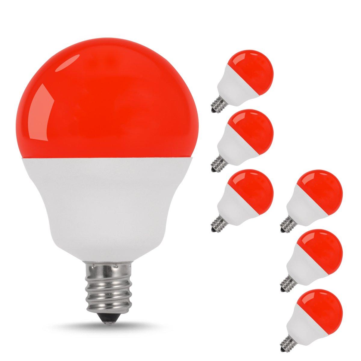 jandcase LEDレッドライト電球、5 W (40 W電球相当、e12ベース、g14グローブ電球の装飾照明、6パック B079QZ35VP