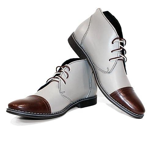 Modello Snoki - Cuero Italiano Hecho A Mano Hombre Piel Gris Chukka Botas Botines - Cuero Cuero Suave - Encaje: Amazon.es: Zapatos y complementos