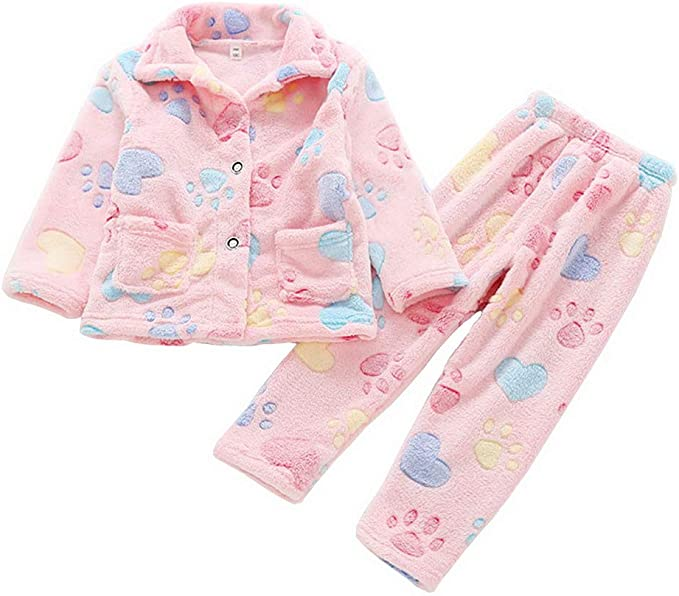 ACMEDE - Pijama para niñas y niños de manga larga, de forro polar, para otoño e invierno, 2 piezas Color 5 Talla:150(Suitable Height 135-145cm): Amazon.es: Bebé