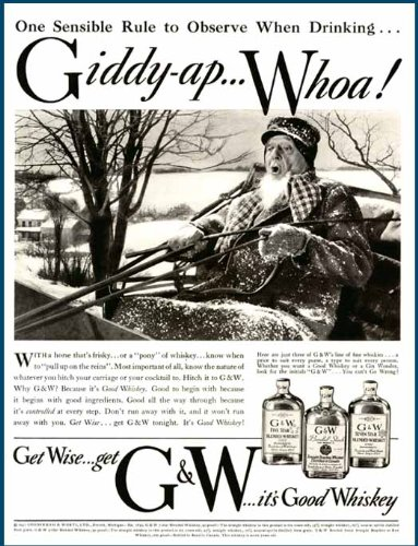 Drinking Rules in 1937 G&W Brand Blended Whiskies AD Original Paper Ephemera Authentic Vintage Print Magazine Ad/Article