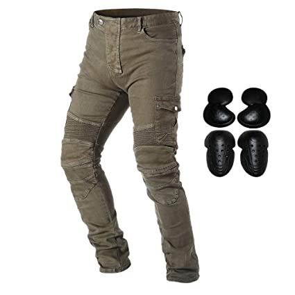 980ea0a199d Amazon.com: Takuey Motorcycle Riding Denim Jeans for Men Motocross Racing  Armor Pants With Detachable CE Certified Knee Hip Protector Pads (Army  Green, ...