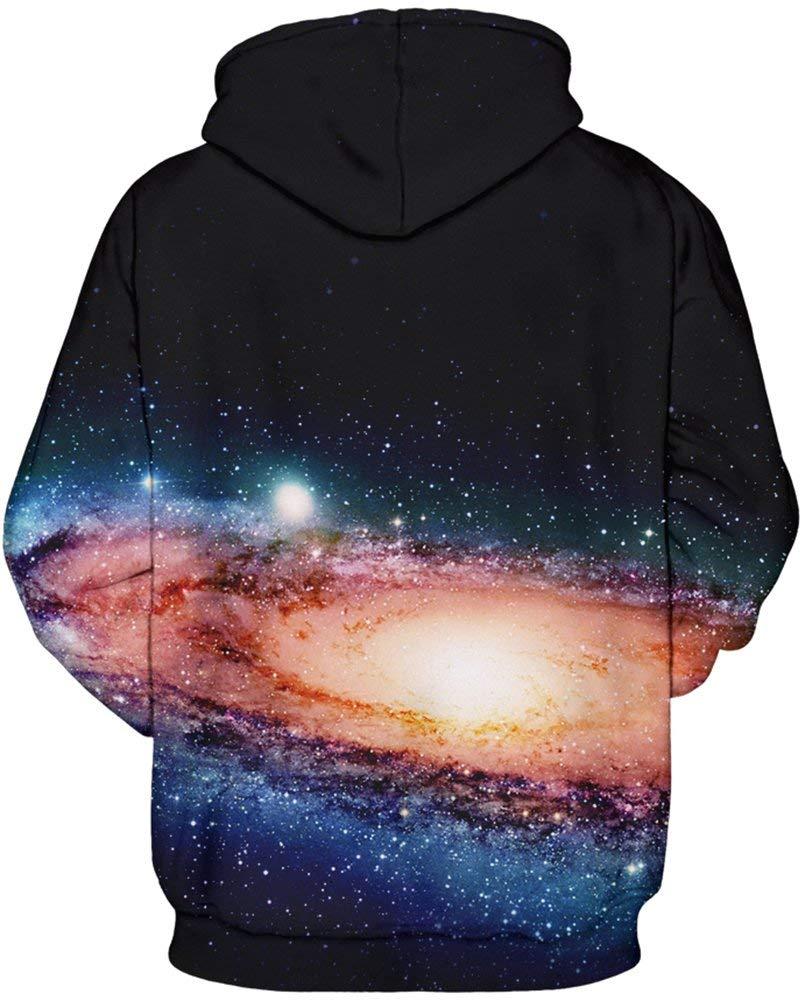 Vogseek Unisex Cool 3D Print Galaxy Cat Pullover Hoodie Lustige Muster Mit Kapuze Sweatshirts mit Taschen für Jugendliche Jumper