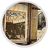 Pixels Round Beach Towel With Tassels featuring ''10 Nights In A Bar Room'' by Scott Norris